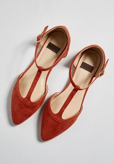 Turn Back Prime T-Strap Flat: super cute flats from modcloth. I can see myself rocking these flat sandals all year round Cute Flats, Cute Shoes, Me Too Shoes, T Strap Flats, Strappy Flats, Tan Flats, Womens High Heels, Womens Flats, Orange Flats