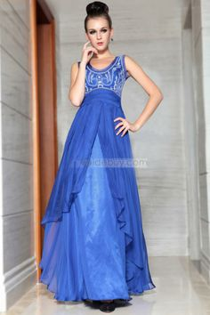 Gorgeous A-Line Floor-Length Scoop Neck Sleevesless Embroidery Empire Evening Dress