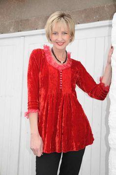At Last Sophie red silk velvet tunic. Tavistock, Red Silk, Devon, Ladies Fashion, Womens Fashion, Tunic Tops, Velvet, Boutique, Lady