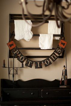 Primitive HALLOWEEN POTIONS BANNER Garland by thecracklingcrows, $30.00