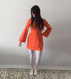 VINTAGE Orange 1970s  CINDY Juniors by LEBOFF  Dress with