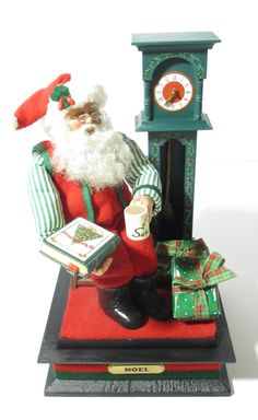 Vintage Holiday Creations 1993 Animated Santa Clause with Grandfather Clock, Hot Cocoa, Story Telling, Christmas Music Box, Noel -  1990s by SandyLeesAttic on Etsy