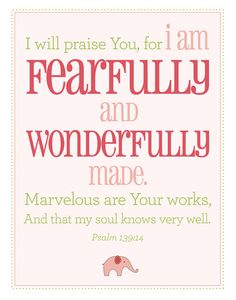 Fearfully and Wonderfully Made Poster  Psalm 13914 by ItsHueILove, $40.00