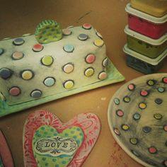 Sneak peak. #pottery #butterdish #dessertplates #polkadots | Flickr - Photo Sharing!  textures