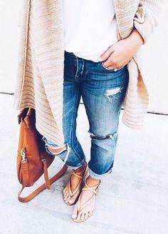 cardigans + boyfriend jeans