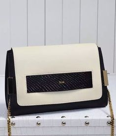 Black Beige Chloe Elle Chain Clutch sale at discount price- USD 277.  Free shipping by courier to your address.  Find more on http://www.luxtime.su/chloe-bags