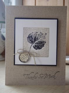 handmade fall cards | just love the tag that hangs on the bottom corner. The leaf in the ...