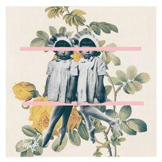 "Enfants . #petit #enfant #quellochenonsembra #mignon #flower #fleur #flowering #children #naturelover #naturewelove #natureza  #linee #roses #yellow #rosee #pink. #collage #collagear #collageart #collagen #collageartist #surrealart #surréalisme #surrealismartcommunity #danslalune #rose #fiori #foglie #leaves. Bambine con cappellini come ""ostrichette"". Alice."
