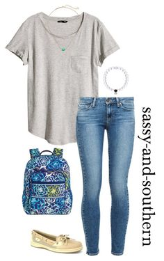 """""""outfit for school tomorrow"""" by sassy-and-southern ❤ liked on Polyvore featuring H&M, Paige Denim, Sperry Top-Sider, Kendra Scott and Vera Bradley #schooloutfits"""