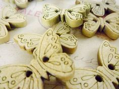 Wooden Buttons Butterfly Buttons Pack of 10 by heartsupplies