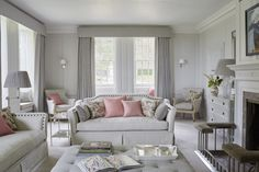16th Century Family Manor | Sims Hilditch - soft silver grey with pink accents