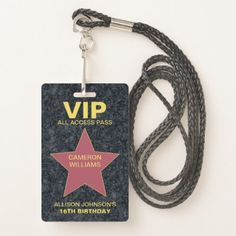 #party - #Hollywood Star VIP Pass Party Favor Badge
