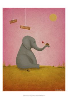 Another adorable elephant for the playroom: Grand Gestures Print by Shari Beaubien at Art.com