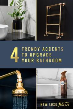 What& on-trend in bathroom décor? Brass accents, rich tones, and a luxurious scent to tie it all together. So go all out on a bathroom remodel. or just remodel the air with the high-end scents of Febreze in Ocean, Forest, and Wood today. Luxury Home Decor, Cheap Home Decor, Diy Home Decor, Bathroom Renovations, Home Remodeling, Home Decor Accessories, Decorative Accessories, Bathroom Accessories, Febreze
