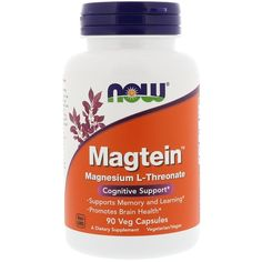 Now Foods, Magtein, Magnesium L-Threonate, 90 Veg Capsules iherb Brain Supplements, Nutritional Supplements, Healthy Brain, Brain Health, Eat Healthy, Nervous System Function, Vitamin Deficiency, Stomach Ulcers, Magnesium