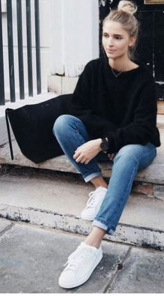 380775a888b 20 Cute Outfits With Sneakers That You Need To Try. Jeans With SneakersCute  Sneakers For WomenWomen s SneakersBlack SneakersCasual ...
