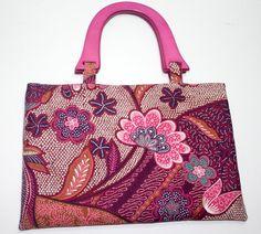Wood Handle Purse Retro Pink Brown Blue Handbag by SNGInspirations, $25.00