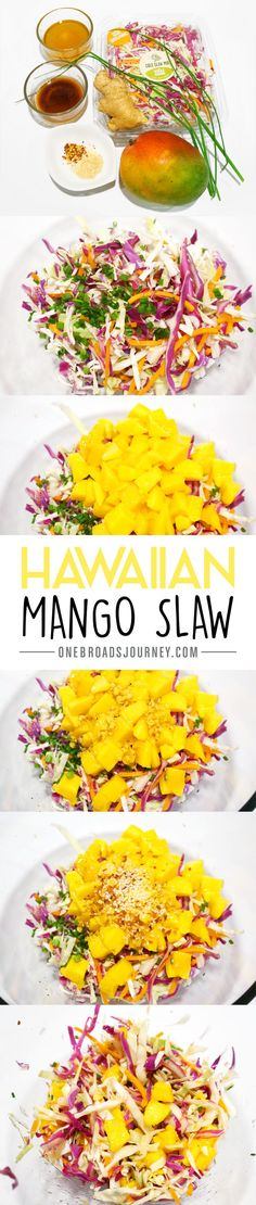Hawaiian Mango Slaw - One Broads Journey - Trend Noodle Side Dish Recipes 2019 Hawaiian Dishes, Hawaiian Luau, Hawaiian Coleslaw, Hawaiian Parties, Hawaiian Theme, Hawaiian Salad, Hawaiian Recipes, Luau Food, Hawaian Party