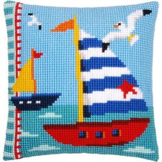 Vervaco® Sailboats Pillow Cover Needlepoint Kit $34.99