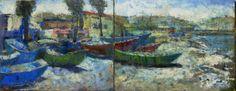 Jose Gomez • TARDE EN LA PUNTA. Oleo. Diptico. 40 x 100 cm.