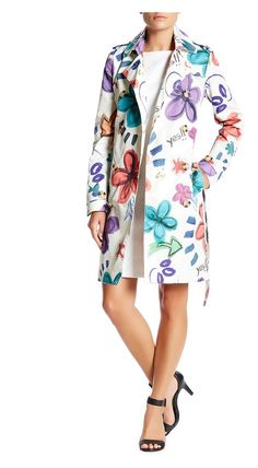 Desigual Floral Printed Trench Coat - on #sale 53% off @ #HauteLook  #Desigual