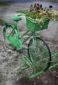 green, and a basket and pansie's..what fun....vintage bike too