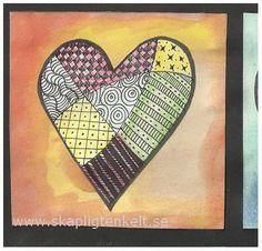 Bilduppgift - hjärtan  Zentangled hearts