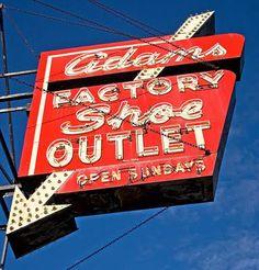 Vintage neon sign, Adams Factory Shoe Outlet