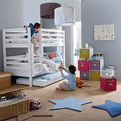 Le lit superposé modulable Maysar. Evolutif en 2 lits banquettes ou 2 lits jumeaux, laissez-vous surprendre par ce concept créatif et audacieux !