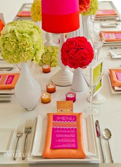 Wow, fantastic table! Neon. chevron. pink. green. orange.