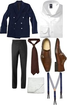 downeastandout:    The Gianpaolo by downeastandout on Polyvore  Unstructured Double Breasted Jacket / Thom Browne Straight-Leg Wool-Twill Trousers / Drake's Swiss-Dot Elasticated Braces / Paul Stuart - The Newbury Double Monk-Strap / Untipped Woven Grenadine Solid 7cm Silk Tie, $165 / Chinese brocade white - Pocket squares