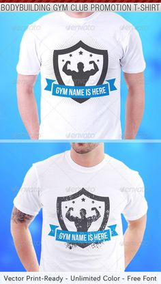 Bodybuilding Gym Club Promotion T-Shirt Template - Download…