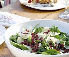 Rezept: Raukesalat mit Granatapfel und Parmesan