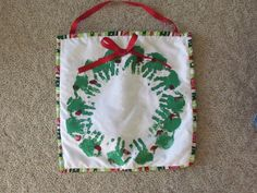 Christmas Toddler Craft:  Hand print wreath