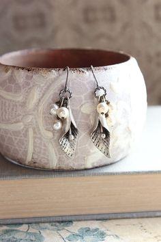 Calla Lily Earrings, Spring Jewelry, Antique Silver Flower Dangle, Surgical Steel, Pearl Drops, Nickel Free, Modern Flower Jewellery