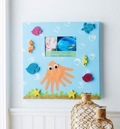 The kids can help create this nautical inspired Under the Sea Create-a-Canvas