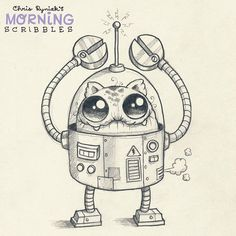 Mecha-Cat 5000 with tuna-fart exhaust ventilation action!  . #morningscribbles