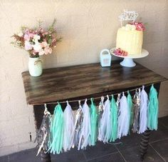 Mint Silver and White Tissue Paper Tassel Garland/Pom Little Prince Party, Little Man Party, Tassel Garland, Garlands, Father's Day Celebration, Tissue Paper Tassel, Ice Cream Party, Woodland Party, Diy Party
