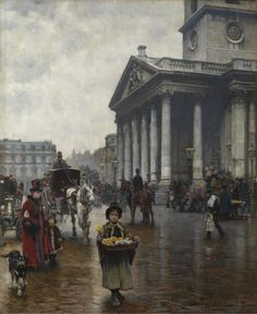Logsdail painted 'St Martin-in-the-Fields' 1888 from a vehicle stationed for weeks at the kerb-side in Trafalgar Square