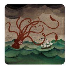 Art print illustration Giant Squid. $17.00, via Etsy.