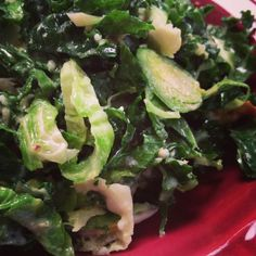 Crazy-Delicious Kale & Brussels Sprouts Salad! | G-Free Foodie #GlutenFree #raw #kale