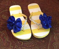Blue & Gold Cheer Bow Flip Flops