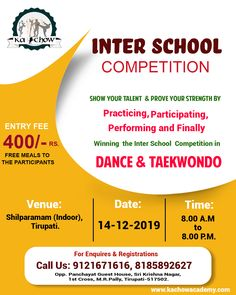 Its not only an Inter School Competition to be at But a Ka-Chow's Opportunity To show your true spirit to the audience of this City of Tirupati Improve Self Confidence, Self Defense Martial Arts, Model School, Gymnastics Coaching, Gymnastics Photos, Training Academy, Taekwondo, Weight Loss Program, Video Editing
