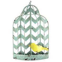 Distressed Chevron Bird Cage Wall Decor