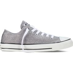 Converse Chuck Taylor All Star Sparkle Knit – grey Sneakers ($60) ❤ liked on Polyvore featuring shoes, sneakers, grey, rubber sole shoes, polish shoes, converse trainers, converse sneakers and grey cap