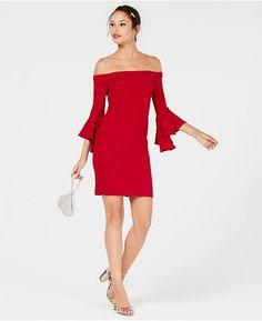 d7d8b83340938 Teeze Me Juniors' Ruffle-Sleeve Off-The-Shoulder Dress - Red 0