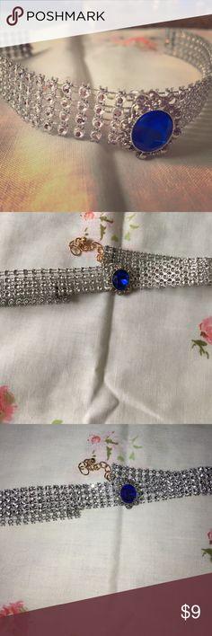 Blue gem Choker Silver with a big blue gem Jewelry Necklaces