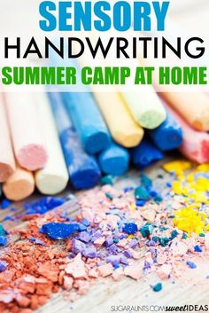 Sensory Handwriting Backyard Summer Camp – The OT Toolbox sensory summer camp at home idea for handwriting summer camp for kids using all of the senses to prevent the summer slide. Practice handwriting this summer with sensory motor activities. Motor Activities, Sensory Activities, Educational Activities, Learning Resources, Summer Activities, Sensory Bins, Sensory Play, Sensory Motor, Sensory Issues