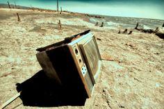 Ruins on the beach of an old Salton Sea town
