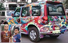 Two brothers Manil and Rohit Gupta have painted their Scorpio in what can be termed as unconventional and eccentric manner but yet it has been the cynosure of all attention everywhere it goes. The vehicle in question was caught doing the rounds at the Delhi Chandigarh Highway and this Holographic Love Machine as the two brothers have called it has caused immense interest curiosity of passersby who are fascinated by its striking designs, bright vibrant colors.